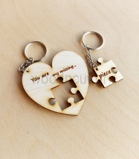 Σετ μπρελόκ καρδιά με puzzle