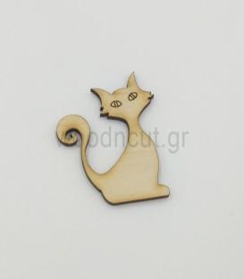 Ξύλινη γάτα για διακόσμηση | woodncut - ξύλινα διακοσμητικά