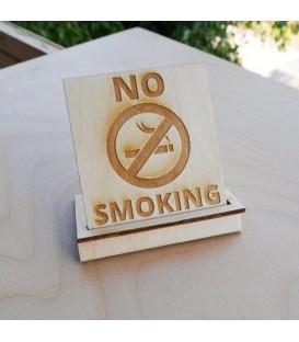 ξΞύλινη ταμπέλα No Smoking για καφετέρια, εστιατόριο, χώρους εστιάσεως